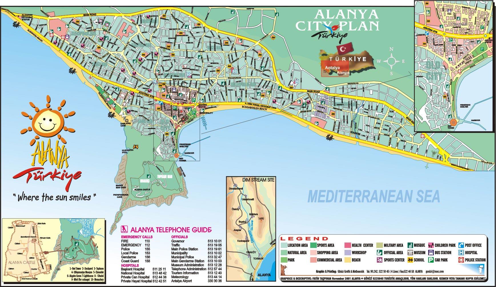 Mapa Alanja Turska Alanja leto cene avionom Alanja slike