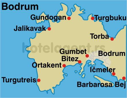 TURSKA BODRUM LETO MAPA HOTELI CENOVNIK CENE