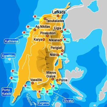 Mapa Lefkade Lefkada mapa leto Grčka