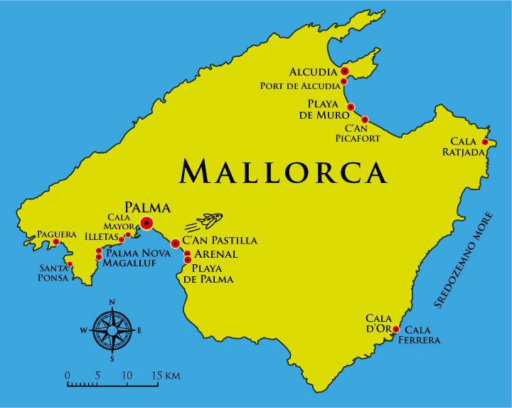 Mapa Majorke letovanje cene aranžmana avionom Španija