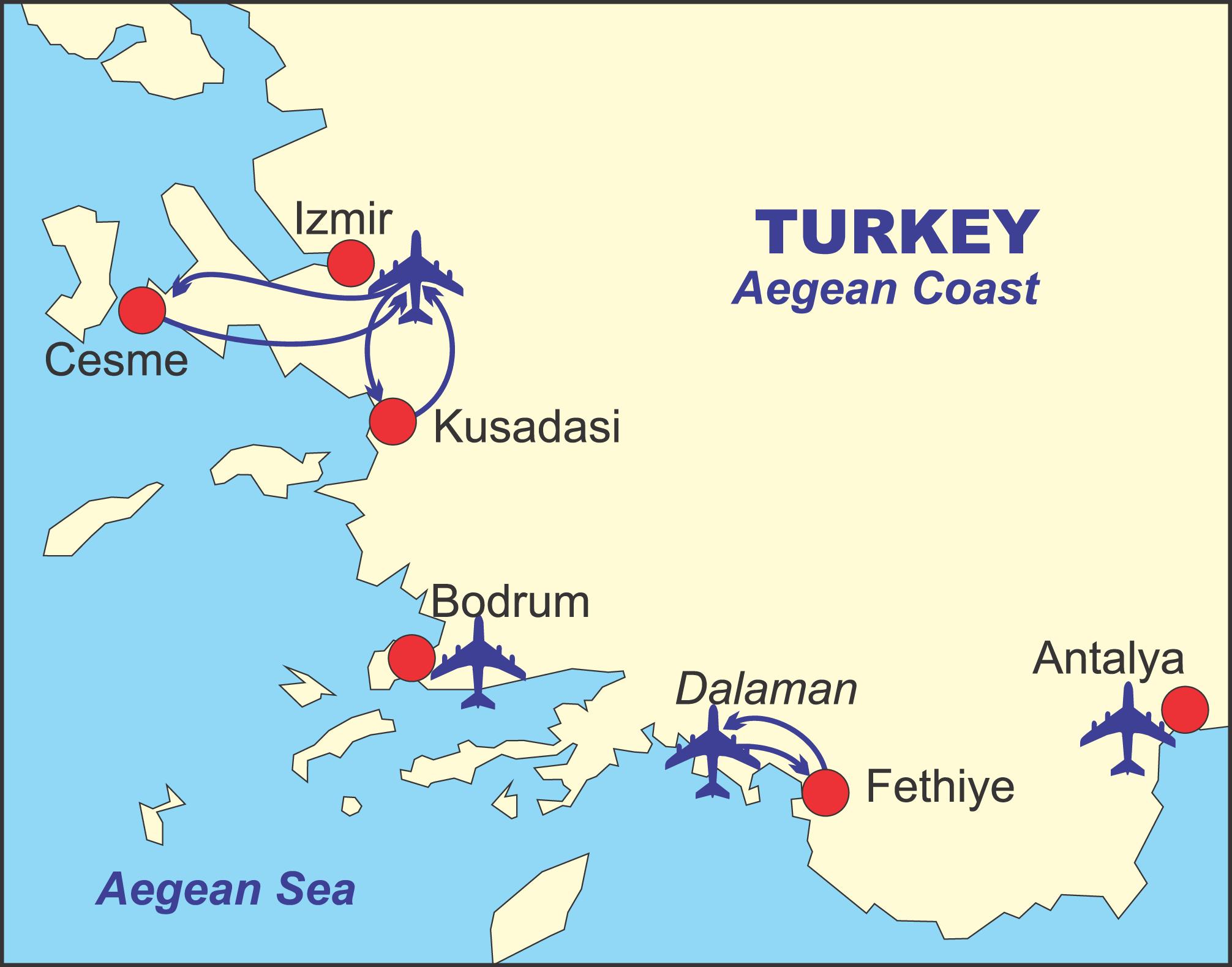 TURSKA KUŠADASI LETO MAPA KUŠADASIJA LETO PONUDE