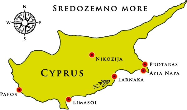Kipar leto mapa - mapa Kipra