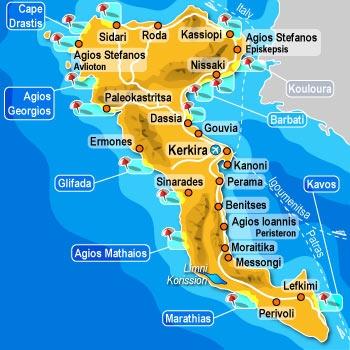 Krf mapa leto Grčka letovanje hoteli apartmani last minute ponuda