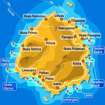 Mapa Tasosa - Tasos mapa