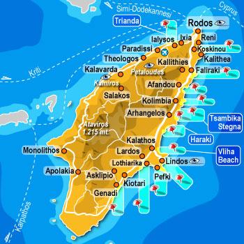 Rodos mapa Rodosa Grčka leto aranzmani